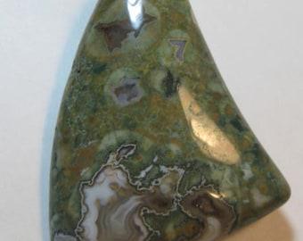 Rain forest Jasper  pendant bead...........  45 x 34 x 6 mm ...... a3506