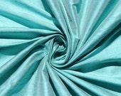 "Robin's egg blue 100% dupioni silk fabric yardage By the Yard 45"" wide"
