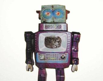 Television Spaceman robot brooch - 1960's japanese tin robot pin Alp Co