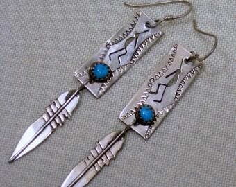 Kokopeli  Sterling Turquoise Earrings