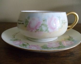 Vintage H.C. Royal Bavaria Hand Painted Cup and Saucer // 325// price reduction