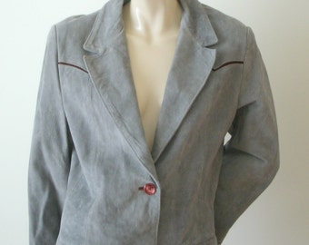 70s Vintage gray 2 button suede leather western Deerskin Trading Post jacket blazer burgundy accents Women 20 L-XL Unisex Mens L
