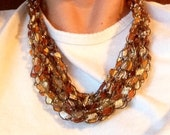 Crocheted Trellis Necklace in Golden Ready to Ship