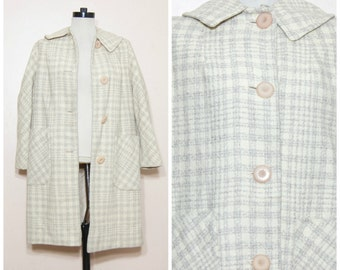 60s Plaid Wool Coat Medium Large Pastel Yellow Lavendar Peacoat Jacket Retro Mid Century