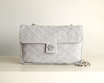 Grey and silver crochet bag with silver backstitchs
