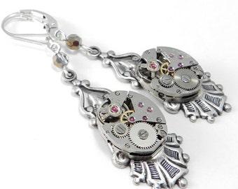 Steampunk Earrings, Edwardian Watch Jewelry, Mechanical Movement Clockwork, Silver & Gold Crystal, Steampunk Jewelry by compassrosedesign