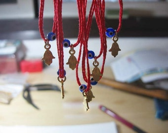 Hamsa Charm and Tiny Blue Evil Eye Lucky Charm on Red String Kabbalah Bracelet Wrap Around Make A Wish Bracelet Under 20
