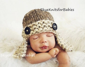 Baby Aviator Hat, Newborn Aviator Hat, Knit Baby Hat, Baby Ear Flap Hat, Newborn Boy Hat, Baby Boy Hat, Wool Blend Hat, Newborn Photo Prop