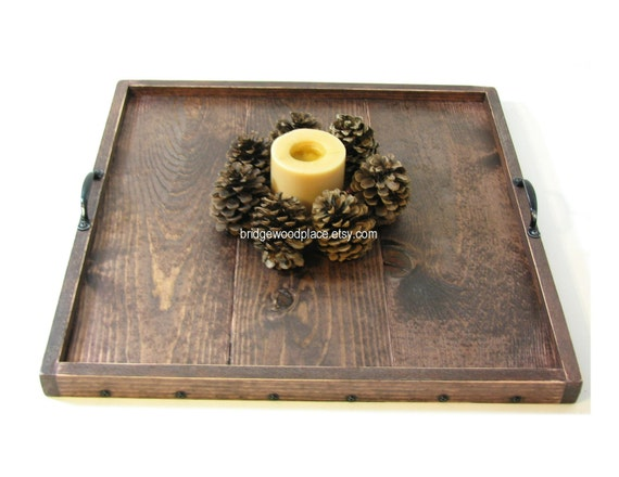 Ottoman tray wooden serving tray solid wood by bridgewoodplace Decorative trays for coffee table