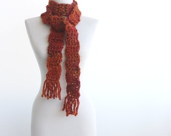 Long scarf Rust Crochet scarf Burnt orange Wool blend autumn fall fashion winter accessories