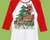 Kids Shirt, Christmas Shirt, Woodland Deer, Red Raglan shirt, Holiday, Green Tree by ChiTownBoutique.etsy
