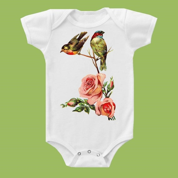 Baby Girl clothes, One Piece Baby Bodysuit, Short or Long Sleeve, Baby Shower GiftVintage Birds and Roses,by ChiTownBoutique.etsy