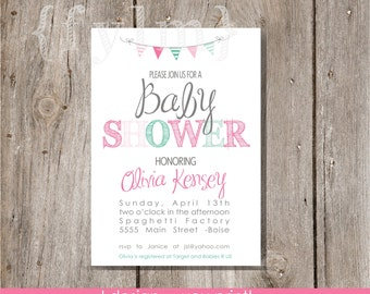 BABY girl shower Invite-  Baby Shower Printable Party Invitations - I design - YOU print