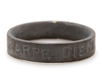 Carpe Diem Ring Black Hand Stamped Personalize Custom Man Jewelry
