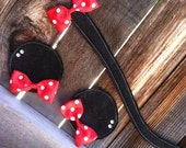 Minnie Mouse Inspired Ears and Tail Clippie Set With Red