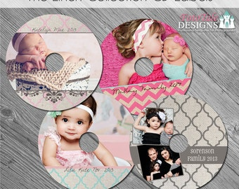 The Linen Collection CD/DVD Label Set - custom photo templates for photographers on Whcc specs