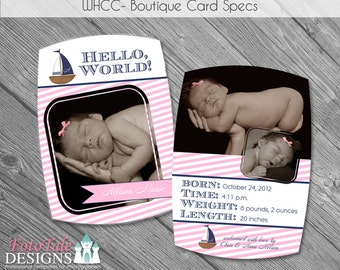 INSTANT DOWNLOAD - Nautical Baby Announcement- Luxe Card No. 5- custom photo templates for photographer's on Millers Lab and WHCC Specs