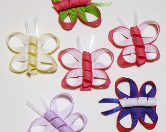 Girls Butterfly Hair Bow Set Infant Baby Toddler Childrens Kids Boutique Fashion Small Tiny Little Hair Clip Hairbows (Set of 6)