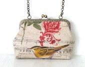 vintage bird and flowers printed, shoulder bag,purse,hand bag,clutch