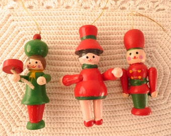 3 Vintage Christmas Ornaments 2 Wood Ladies w Hats Soldier Guard w/ Hat Red Green Hand Painted 1980's Christmas Ornaments