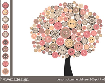 The Button Tree - Sweet Pink - in pink, peach, and grey - digital clip art