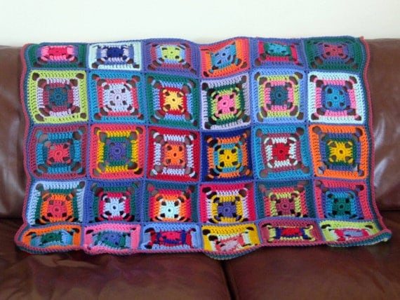 SALE Klimt Colorful Jazzy Granny Square Crochet Blanket Afghan Patchwork