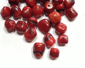 Coral Chunk Nugget Beads