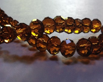 Autumn Topaz - Faceted Crystal Rondelle Beads - 10mm - 12 beads