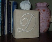 Monogrammed Tissue Box Cover -  Darling Aurora Font - Made To Order
