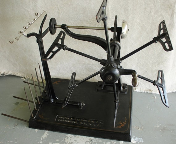 Antique Cast Iron Industrial Textile Yarn Winder By Brown And
