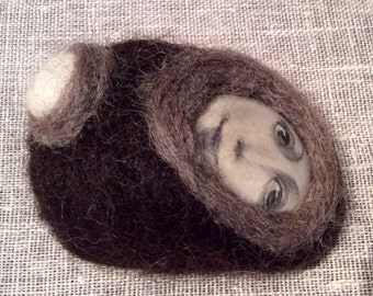 Hand-painted hand felted rock. OOAK