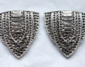 1 Pair of Vintage 1930's Art Deco Silver Shoe / Dress Clips // Great Gatsby Elegance