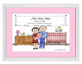 Personalized cartoon New Baby Girl w Mom and Dad 8 x 10 Matted Print   w customer choice of mat color