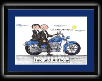 Personalized Cartoon - Motorcycle Couple, Male or Female - 8 x 10 Matted Print   w customer choice of mat color