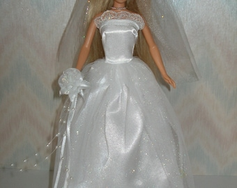 "Handmade 11.5"" fashion doll clothes - white satin and glitter tulle wedding gown"