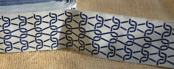 SALE: 5 Yards New Hampshire Jacquard Ribbon  - Sewing Gift Wrapping Off white & Navy Chain Link Christmas Holiday Trim  1 3/4""