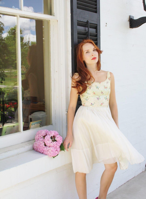 Vintage Wedding Dress Ca : Vintage s wedding dress short pastel