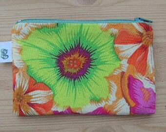 Zippered Coin Purse Wallet Organizer - kaffe spring poppy flowers print