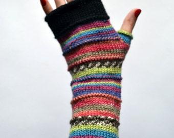 Merino Wool Fingerless gloves -  Fingerless gloves - Fashion Gloves - Rainbow Fingerless Gloves   nO 49.