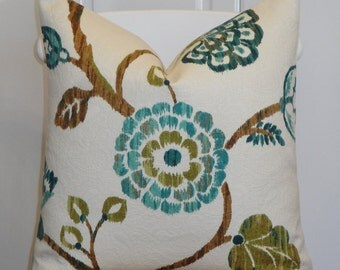 DOUBLE SIDED -  IKAT Floral - Decorative Pillow Cover - Teal Blue Green - Brown - Olive