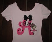 Personalized dance ballet leotard with child's initial and ballerina - option 3 - choose light pink or black leotard