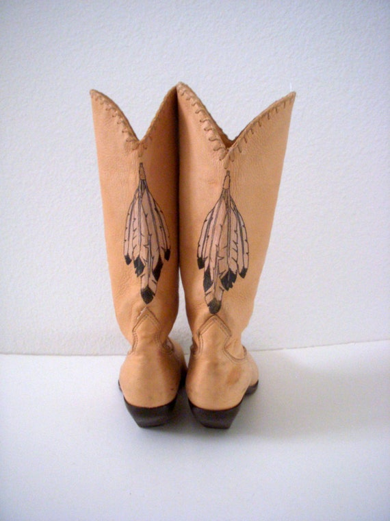 Vintage Chamois Zodiac Frontier Cowboy Boots Tan Hand Painted