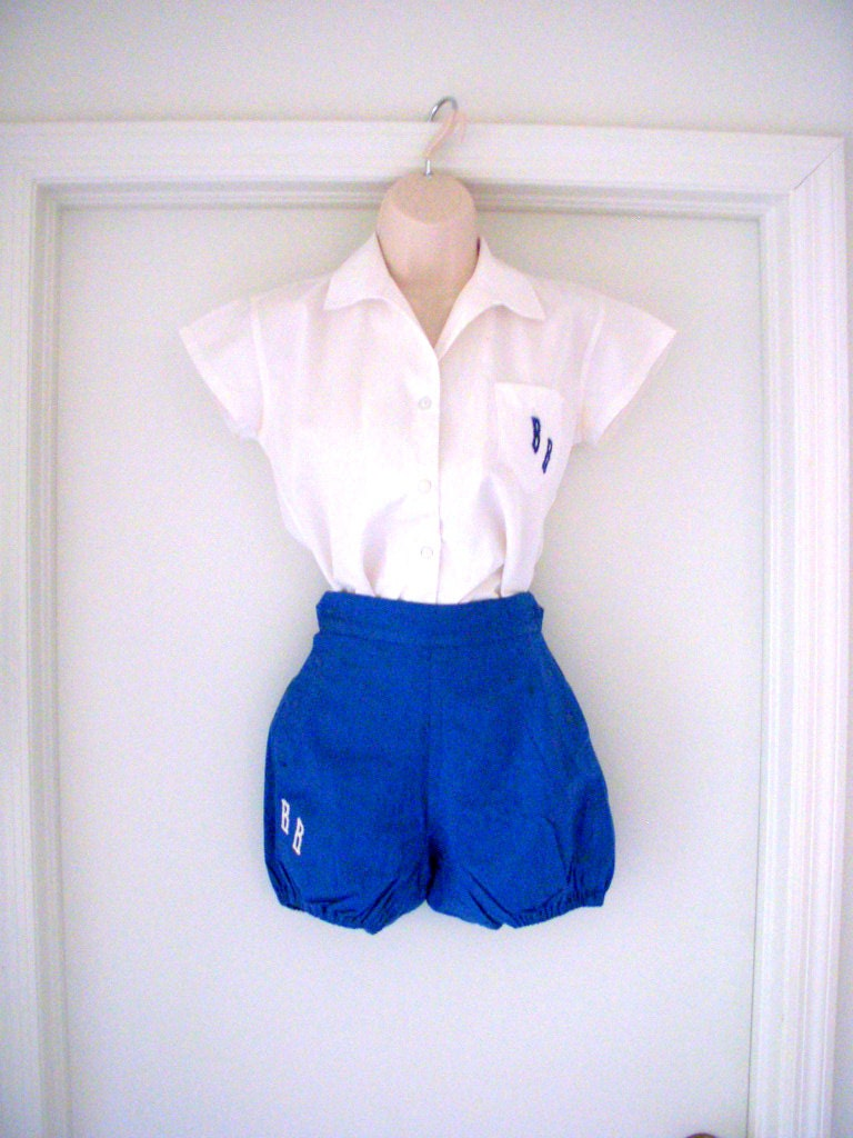 Vintage 40s 50s Gym Uniform With Blue Bloomers Blue And