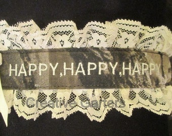 Duck Dynasty inspired garter with duck charm and Happy,Happy,Happy