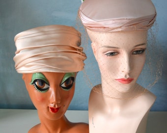 Peach Pink Satin Ladies VINTAGE Hats LOT of Two Flowers/ Netting/Pillbox/Flower Wedding Bridesmaid