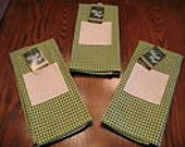 Lot of 3 Charles Craft Green Gingham Towels to Stitch, Stamp or Whatever