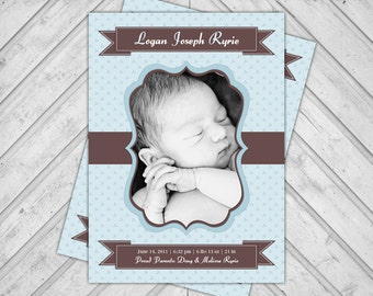 Newborn Boy Baby Announcement Photo Cards, New Baby Birth Announcements, Blue and Brown, DIY Printable or Printed Cards Available (181)