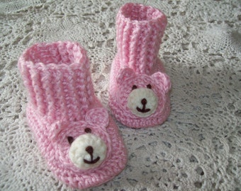 Hand Crochet Baby Girl Infant Pink TEDDY BEAR Booties Shoes Slippers