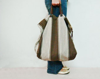Stripe Tote Bag, Oversized Canvas HandBag, Large Tote, Leather Handles