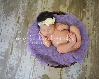 Ivory baby headband, newborn headband, small dainty ivory flower headband, infant headband, toddler, photography prop